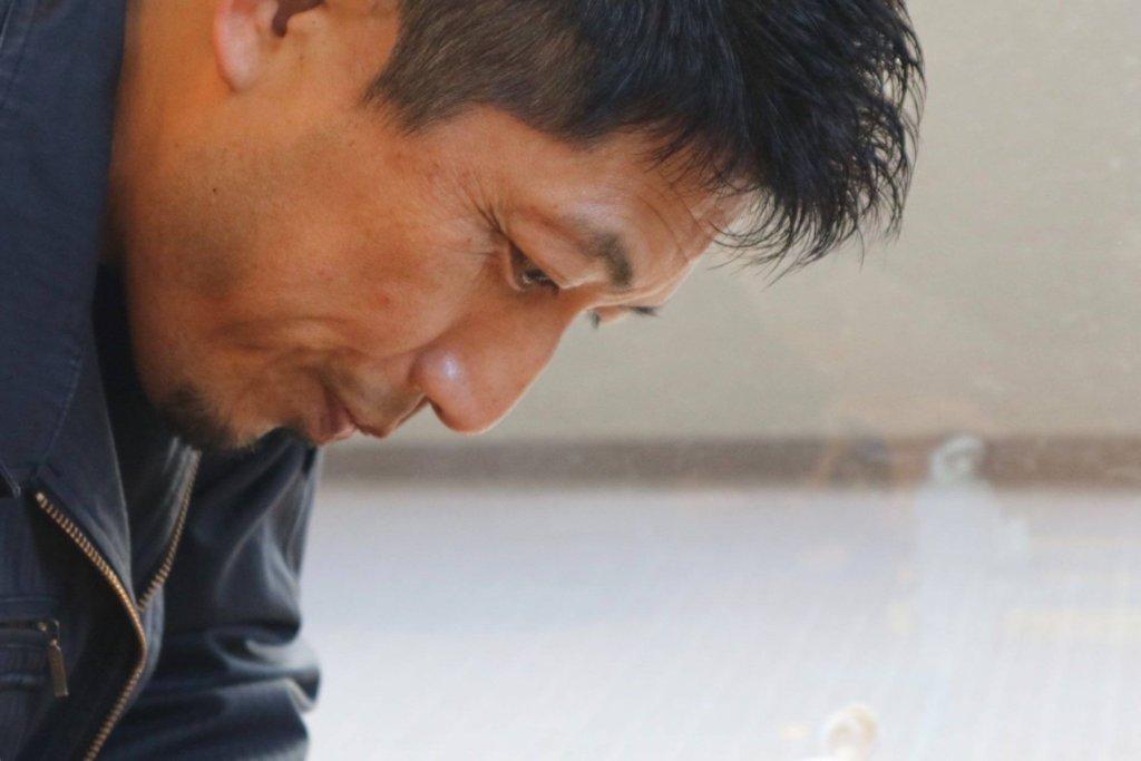 リペア作業中の松尾社長